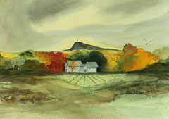 In the Distance... (Kooklamou - MA., USA) Tags: blue autumn trees red sea house green fall home nature birds yellow yard watercolor studio sand scenery mine moments waves remember quiet mixedmedia memories maine scene retreat vista watercolour grasses holyoke southhadley laurens magical pinks seabird lovingly easthampton theraputic youarethere youmademyday