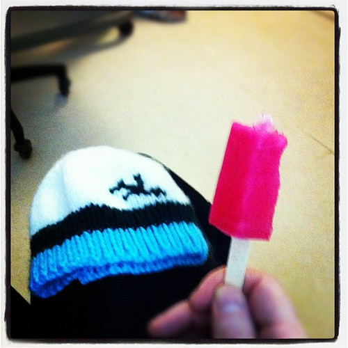 Waiting... Now with cherry popsicles! And a toque the midwife gave us for him when he's born. #threemiledaddy