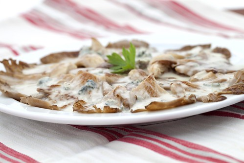 Girgoles amb gorgonzola
