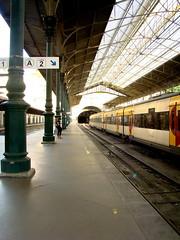 (nicolee.camacho) Tags: urban signs portugal station sign yellow train europa europe long bright metro rail railway trains porto rails lonely railways oporto stations