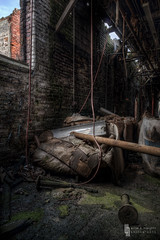 Let The Light Shine In (billmclaugh) Tags: ohio brick abandoned industry photoshop canon allison rebel rust industrial factory rope explore smokestack urbanexploration xenia tamron demolished hdr highdynamicrange urbex hooven photomatix xti 1750mm promotecontrol hoovenallison