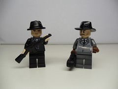 Two of the gangsters.  Left: hat and gun by BrickWarriors.  Right: Knife by BrickArms. (Brickadier General) Tags: auto 1920s ford car sedan 1930s gangster gangsters model lego gang chrome vehicle 1920 30s fleshies 1930 20s bootleggers bootlegger auotmobile brickarms brickwarrior