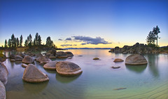 Sand Harbor Sunrise - Panorama (David Shield Photography) Tags: statepark trees sky panorama color beach water sunrise landscape bay harbor nikon rocks nevada laketahoe explore boulders easternsierras sandharbor explored bestcapturesaoi elitegalleryaoi
