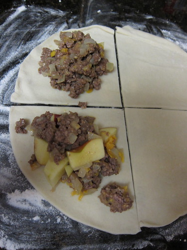 filling the Beef, cheddar, and apple pocket