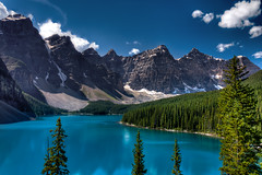 Moraine Lake (Matt Dobson Photograhy) Tags: blue sky snow canada mountains nature beauty pine landscape rockies nationalpark aqua tourists alberta banff wilderness lakelouise breathtaking banffnationalpark morainelake valleyofthetenpeaks rockflour glaciallyfedlake lakemorainerookiesmountainsemeraldwaterhdr
