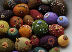 to hold (lilfishstudios) Tags: color texture wool felted rocks object fiberart stitched embroidered lisajordan texturalstones