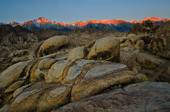 Alabama Hills Apenglow (M-Kuhns) Tags: california ca mountains west rock sunrise nikon desert sierra boulders granite mtwhitney sierranevada hwy395 goldenhour owensvalley weathering alabamahills rockpatterns inyocounty apenglow sierracrest d7000