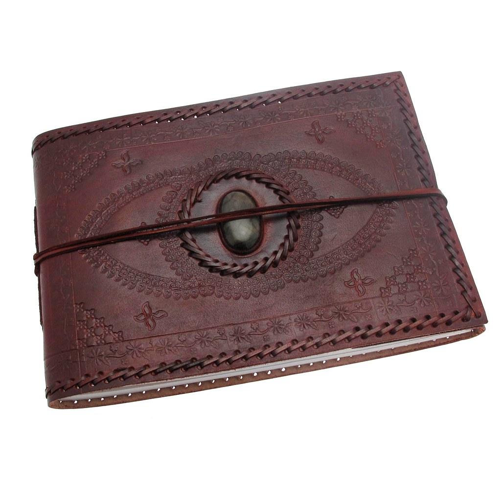 Medium Indra leather stitched embossed stoned leather photo album 2