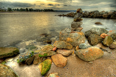 Stacking Rocks (gtsomething) Tags: ocean beach water vancouver rocks britishcolumbia sunsetbeach inukshuk hdr gtsomething