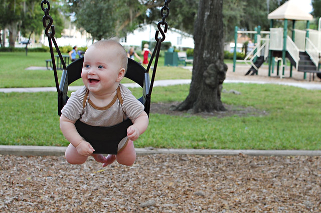 George swinging.