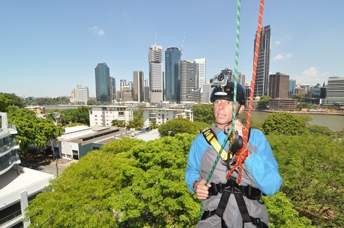 Mid abseil at the Story Bridge