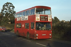 London Transport . DMS2465 OJD465R . Elstree Hill , Hertfordshire . Friday 02nd-November-1979 . (AndrewHA's) Tags: bus leyland fleetline parkroyal b20 londontransport elstree aldenham queensbury route107 fe30alr dms2465 ojd465r