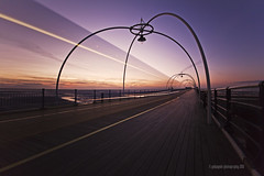mono swish (gobayode photography...times) Tags: longexposure vanishingpoint trails monorail southportpier southportbeach pierrail