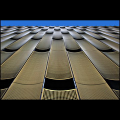 Up (Maerten Prins) Tags: blue sky up metal gold utrecht pattern garage parking fake symmetry holes symmetrical cope papendorp upshot papendorpseweg