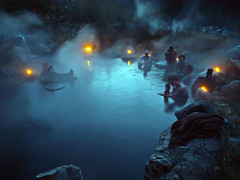 Darkness gathers at Meager Hot Springs (Christopher J. Morley) Tags: november autumn friends hot water pool night creek relax evening waterfall bc hike steam explore soak springs rest hotsprings meager 2011 beautifulbritishcolumbia bestcapturesaoi elitegalleryaoi