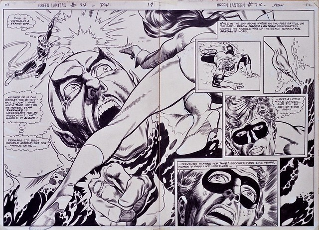 Green Lantern 74 inked double page spread by Gil Kane and Murphy Anderson