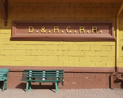 Rest Stop (Patricia Henschen) Tags: bench depot drg goldenco coloradorailroadmuseum
