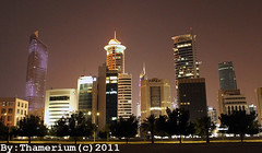 Part of Sharq Skyline-- 11-11-2011 (Thamerium) Tags: skyline architecture nightlights arabia nightview kuwait kuwaitcity arabiangulf  alhamra     alhamratower sharqskyline  arrayatower  skyasraper