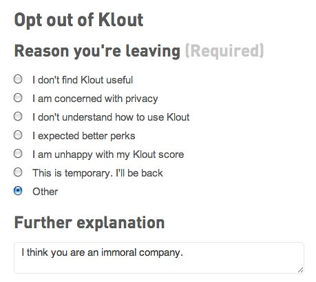 Opt Out of Klout