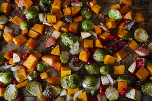 roasted sprouts, squash & cranberries