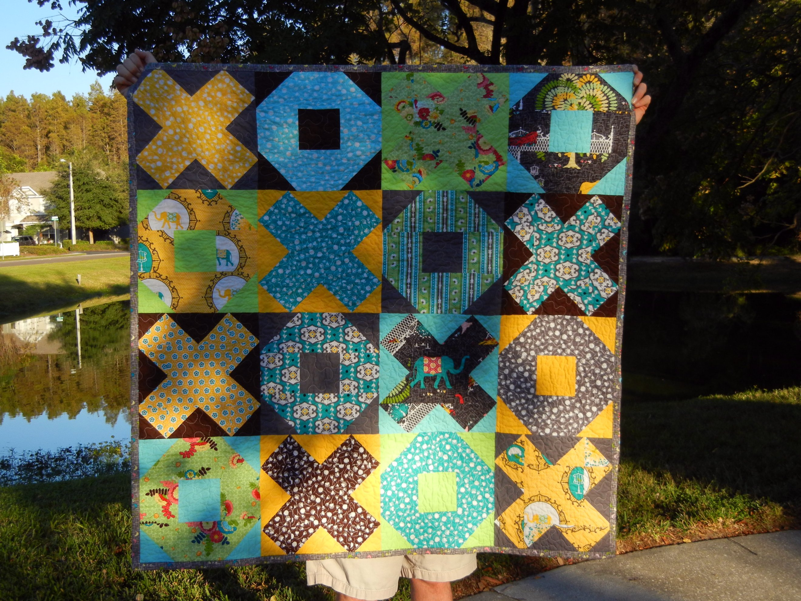 X and O quilt - front view
