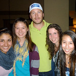 After training Apres in the hotel- Hannah Kupur, Esme McTavish, Bode Miller, Kelly Steeves Alysia Kwong PHOTO CREDIT: Jeff MacLennan, WMSC Coach