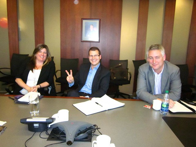 Investors and Board Members Kim Maust, Justen Harcourt and Ross Paul at PlaceSpeak's November Board Meeting.