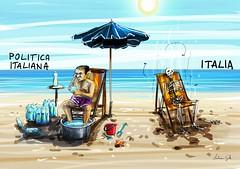 L'aqua è vita (http://www.agatti.com) Tags: italia mare estate sete fame h2o cielo sole acqua satira spiaggia morto politica sabbia bottiglie politico caldo vignetta ministro cadavere ombrellone ricco povero scheletro cambiamento spreco psiconano presendente