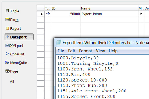 Exported file without field delimiters