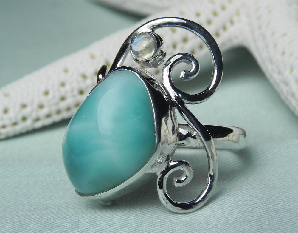 Larimar blue moonstone sterling silver ring