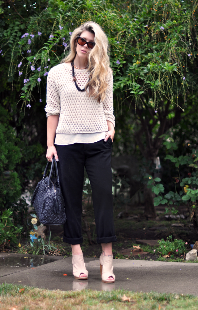 black cuffed  pants with  ivory  sweater and ankle wedges