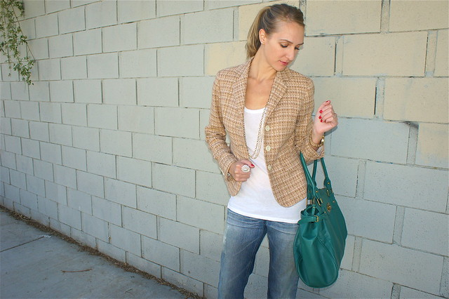 Jeans and tweed blazer outfit