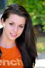 Sarah loves bench (kmitts2000) Tags: portrait orange female model nikon bokeh guelph longhair arboretum brunette orangeshirt d90 kwmphotos