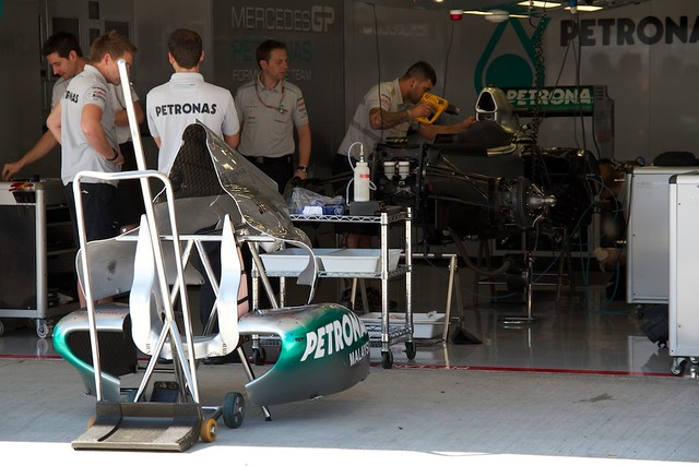 Mercedes GP pit garage