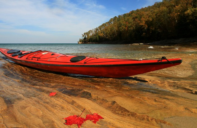 kayak and leaves