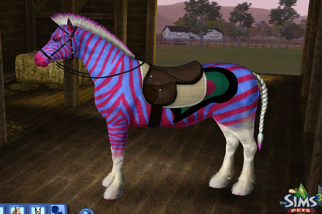 The Sims 3 Pets Punk Rock Pink Striped Pony