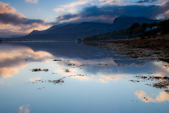 Sunrise Over Ben Nevis 2 (mark_mullen) Tags: morning mountain snow water sunrise reflections landscape scotland countryside early highlands scenery scottish bennevis serene tranquil rugged fortwilliam nevisrange locheil 24105f4is achaphubuil leendgrad markmullen markmullenphotography canon1dsmk2mkii