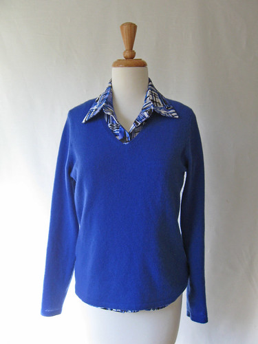Blue poly blouse with sweater