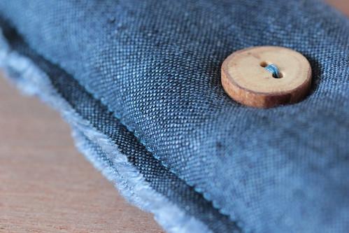 blue linen pincushion