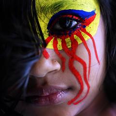 Liar Colors! (Kazi Tahsin Agaz (Apurbo)) Tags: blue red portrait color eye colors face look yellow canon 50mm kiss paint photographers twist story another yet bp facepaint liar x4 nothingness bangladeshi untold kazi tahsin apurbo agaz