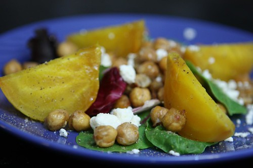 Golden Beets with Crispy Roasted Chickpeas and Feta