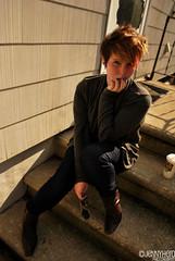 (Jenn Carroll Photography) Tags: blue portrait brown house selfportrait fall coffee sunglasses stone self outside sweater model backyard nikon october boots coffeecup steps jeans starbucks shorthair siding nailpolish cardigan vinylsiding d60 2011 nikond60 jenncarroll jennyhero