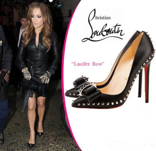 best service 17f1a 5b03c Jennifer Lopez- Christian Louboutin- Black Pumps Lucifer Bow ...