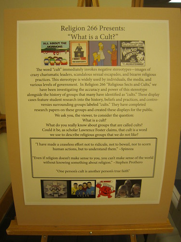 Cults Exhibit explanation poster