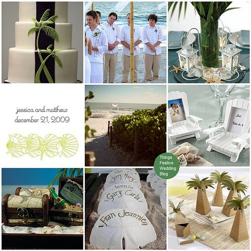 Green and Taupe Beach Wedding Theme