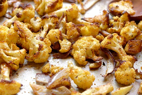 Roasted, curried cauliflower by Eve Fox, Garden of Eating blog, copyright 2011