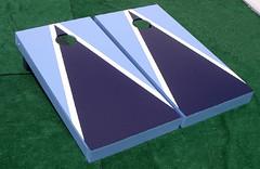Light Blue & Navy Blue Matching Triangle Cornhole Boards