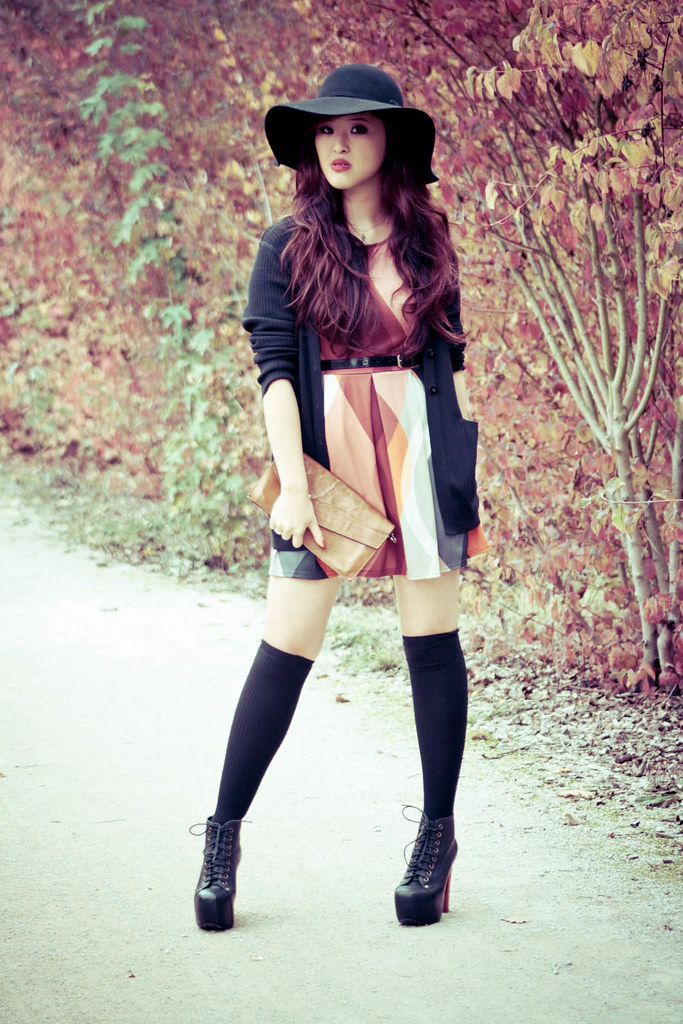 I am Hat, New Look Dress, Caroll Cardigan, Vintage Clutch, H&M Socks, Jeffrey Campbell Litas