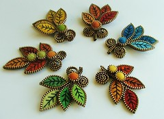 New leaf brooches... (woolly  fabulous) Tags: wool leaves leaf pin brooch felt zipper