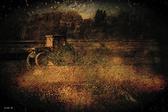 Tractor #2 (Gianmario Masala) Tags: trees italy milan color art nature colors field mi digital rural photomanipulation photoshop dark landscape countryside photo artwork photos pics milano exhibition textures event photograph processing 1001nights textured masala rl realife farmpark gianmario tatot gianmariomasala